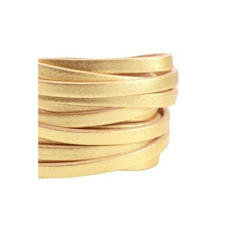DQ leer suède plat 5mm enkel Gold - beige