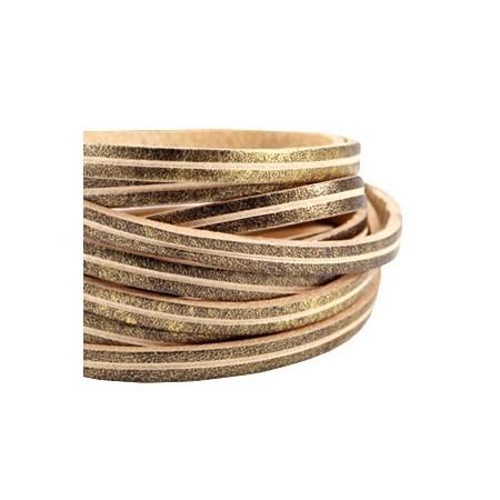 DQ leer suède plat 5mm 2s Antiek brons - beige