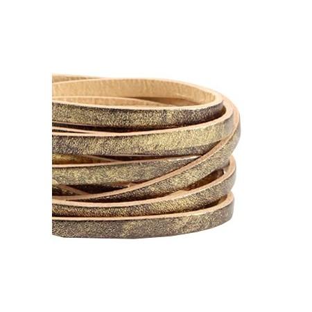 DQ leer suède plat 5mm enkel Antiek brons - beige