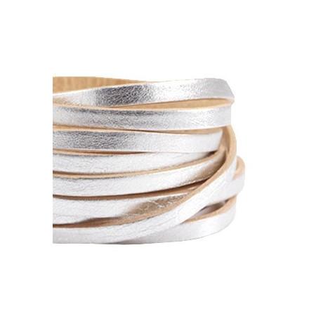 DQ leer suède plat 5mm enkel Zilver - beige
