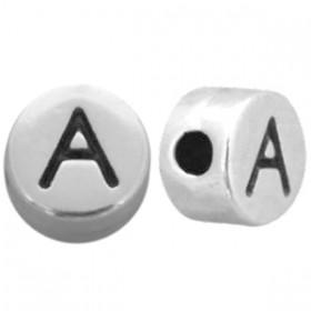 DQ metaal letterkraal A antiek zilver
