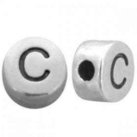 DQ metaal letterkraal  C antiek zilver