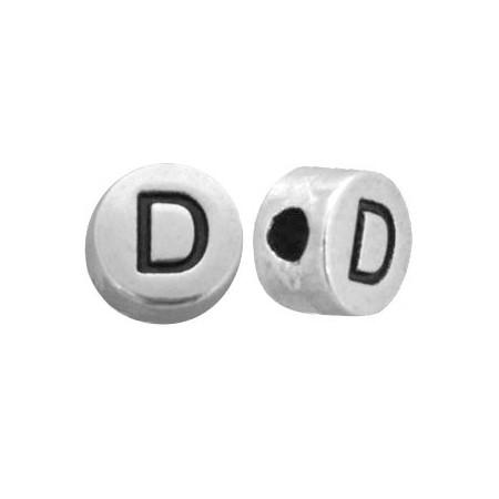 DQ metaal letterkraal  D antiek zilver