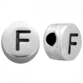 DQ metaal letterkraal  F antiek zilver