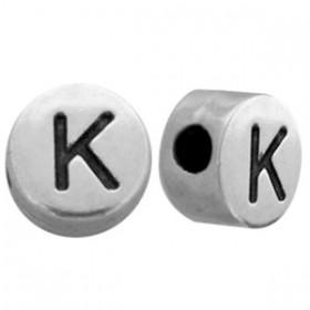 DQ metaal letterkraal K antiek zilver