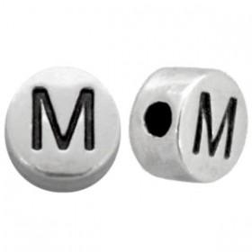 DQ metaal letterkraal M antiek zilver