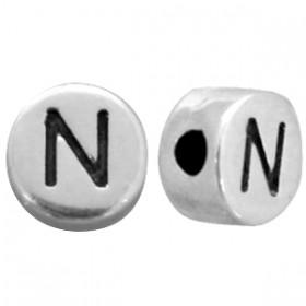 DQ metaal letterkraal N antiek zilver