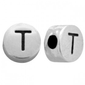 DQ metaal letterkraal T antiek zilver