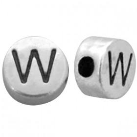 DQ metaal letterkraal W antiek zilver