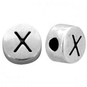 DQ metaal letterkraal X antiek zilver