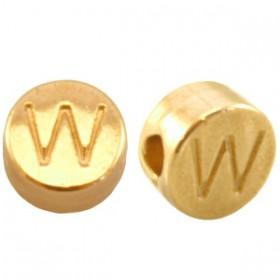 DQ metaal letterkraal W Goud