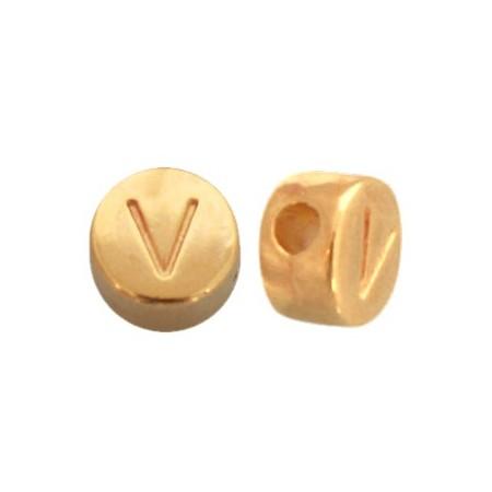 DQ metaal letterkraal V Goud
