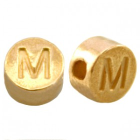 DQ metaal letterkraal M Goud