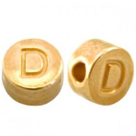 DQ metaal letterkraal D Goud