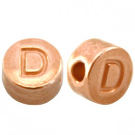 DQ metaal letterkraal D Rosé goud