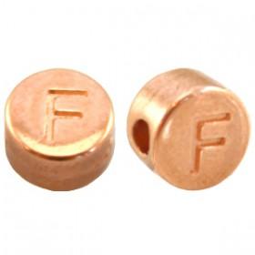 DQ metaal letterkraal F Rosé goud