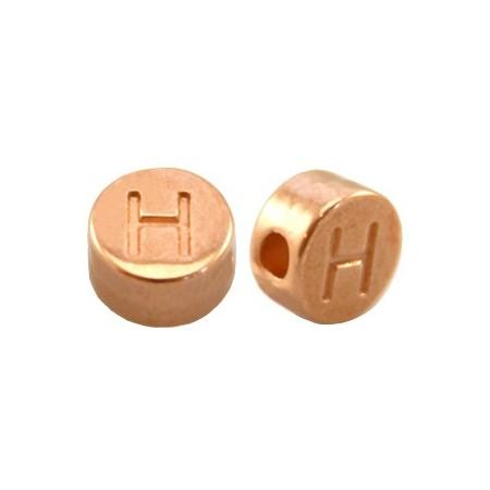 DQ metaal letterkraal H Rosé goud