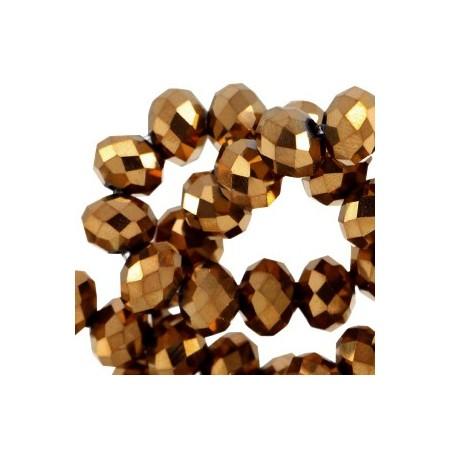 Facet kralen 4x3 mm disc Rosegold metallic