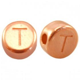 DQ metaal letterkraal T Rosé goud