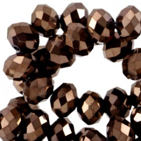 Facet kralen 6x4mm disc Autum brown-metallic pearl high shine coating