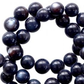 Schelp kralen rond 6mm Zwartblauw