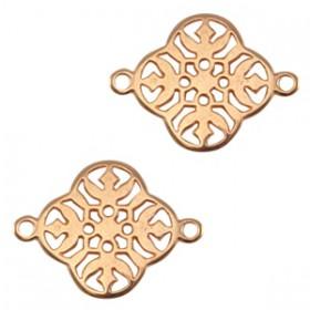 DQ metalen tussenstuk barok klaver Rosé goud (nikkelvrij)