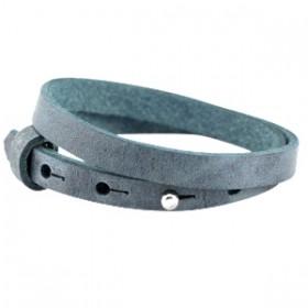 Cuoio armbanden leer 8 mm dubbel voor 12 mm cabochon Antique blue