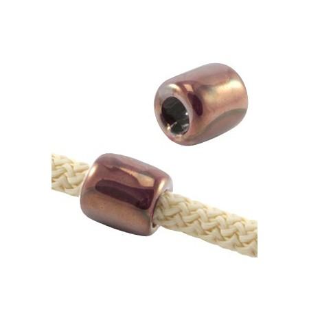 DQ Griekse keramiek kralen tube Aubergine paars - rose gold