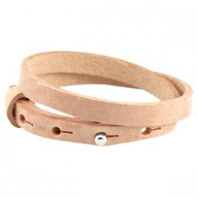 Cuoio armbanden leer 8 mm dubbel voor 12 mm cabochon Cream cognac brown