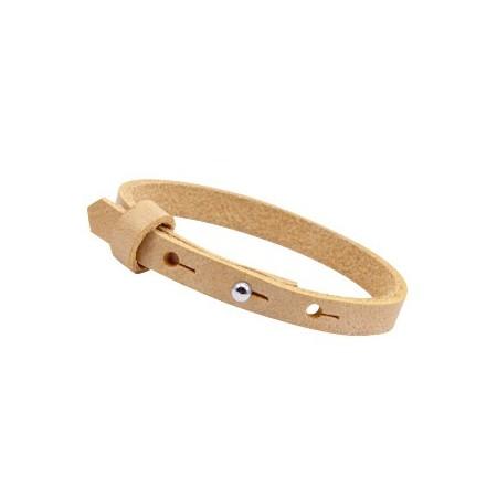 Cuoio armbanden leer 8 mm voor 12 mm cabochon Ochre yellow gold