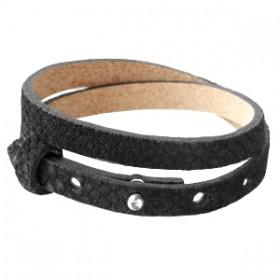 Cuoio armbanden leer Reptile 8 mm dubbel voor 12 mm cabochon Black