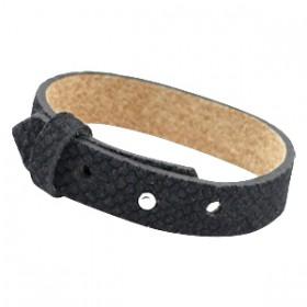 Cuoio armbanden leer Reptile 15 mm voor 20 mm cabochon Black