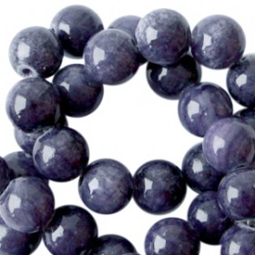Natuursteen jade ronde kralen 6mm Dark blue purple