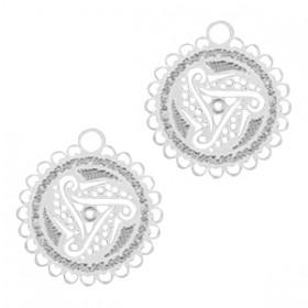 Hangers Bohemian rond met oog 12mm Zilver Swirl