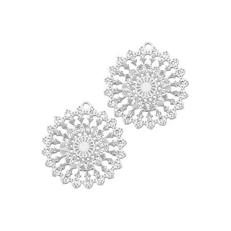 Hangers Bohemian rond met oog 15mm Zilver