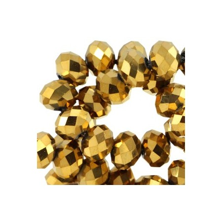 Facet kralen 4x3 mm disc Gold metallic