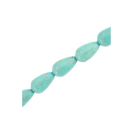 Keramiek turquoise kralen druppel 14x7mm Turquoise blue