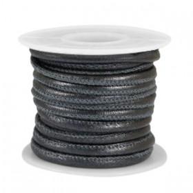 Gestikt imitatie leer 4x3mm Animal print Black metallic