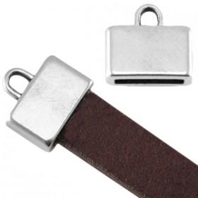 DQ metaal eindkap vierkant met oog (voor DQ leer plat 10mm) Antiek zilver (nikkelvrij)