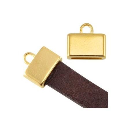 DQ metaal eindkap vierkant met oog (voor DQ leer plat 10mm) Goud (nikkelvrij)