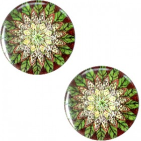 Mandala cabochon basic 20mm Multicolor groen
