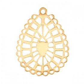 Bohemian hanger druppelvorm getand Gold