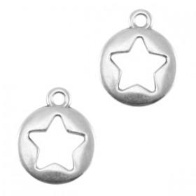 DQ metalen bedels rond met ster Antiek zilver (nikkelvrij)