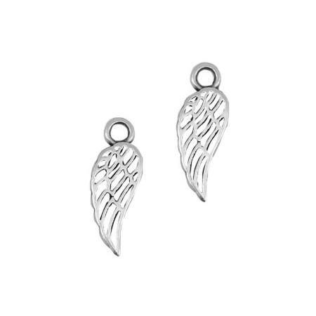 DQ metalen bedel Angel wing Antiek zilver