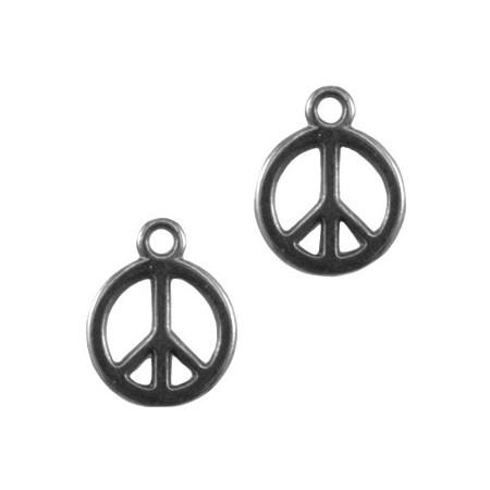 DQ bedel peace teken 12 mm antraciet (nikkelvrij)