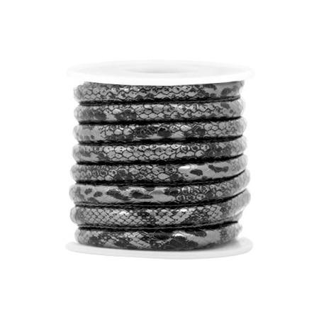 Gestikt imitatie leer 6x4mm snake Antraciet zwart