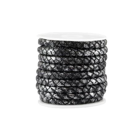 Gestikt imitatie leer 6x4mm reptile Black metallic zilver