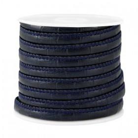 Gestikt imitatie leer 6x4mm Bamboo dark blue