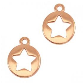 Bedeltje DQ rond met ster Rosé goud (nikkelvrij)