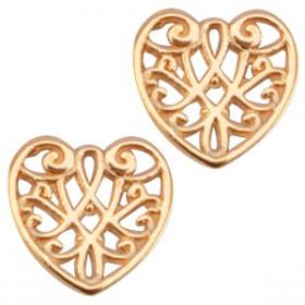 DQ metaal bedel hart Rose gold (nikkelvrij)